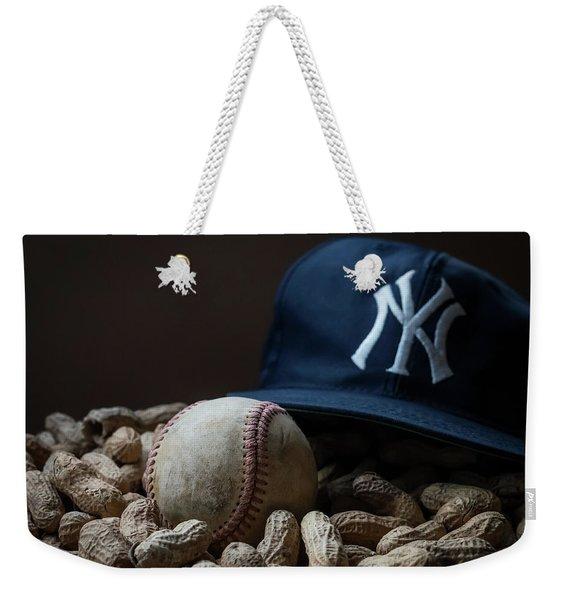 Yankee Cap Baseball And Peanuts Weekender Tote Bag