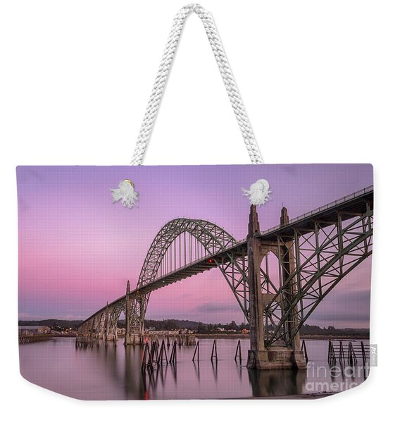 Yaquina Bay Bridge In Blue Light Weekender Tote Bag