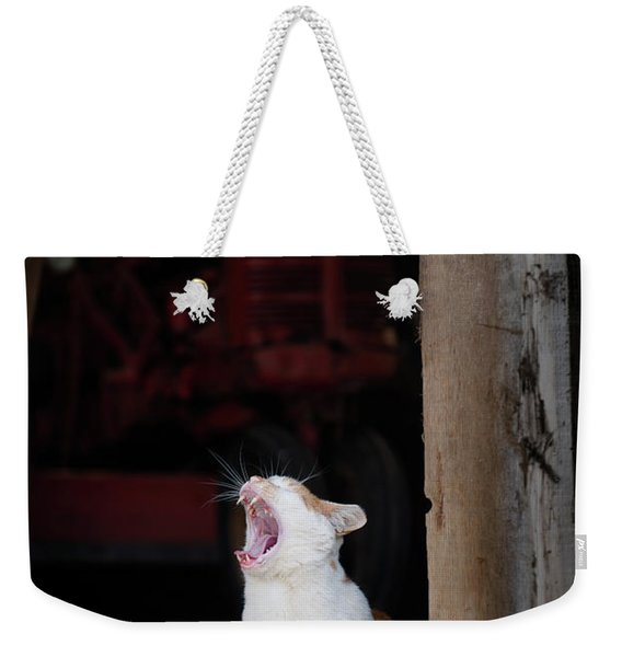 Yawning Barn Cat And Tractor Weekender Tote Bag