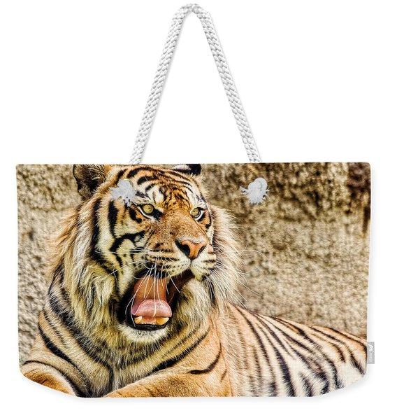 Yawning Bengal Tiger Weekender Tote Bag