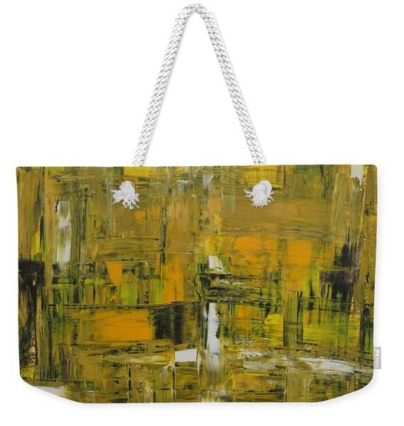 Yellow And Black Abstract Weekender Tote Bag