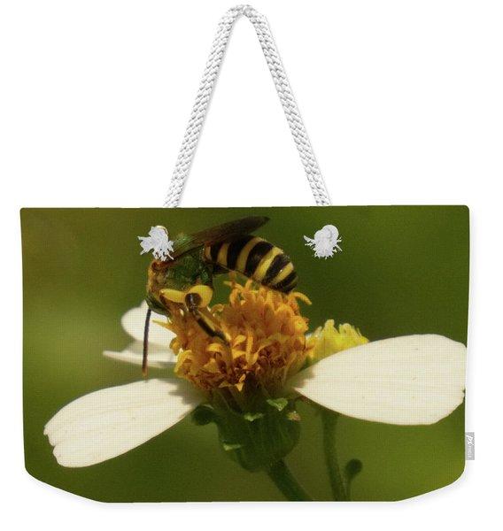 Yellow And Black Bee On Flower. Weekender Tote Bag