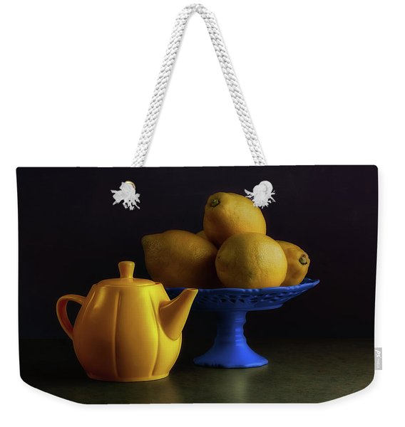 Yellow And Blue Still Life Weekender Tote Bag