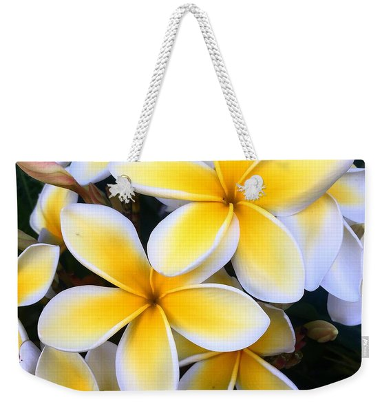 Yellow And White Plumeria Weekender Tote Bag