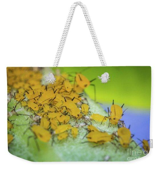 Yellow Aphids Macro Weekender Tote Bag