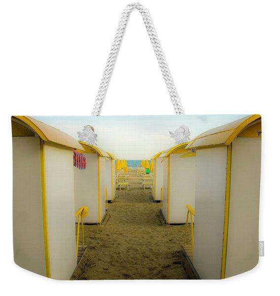 Yellow Beach Cabanas Weekender Tote Bag