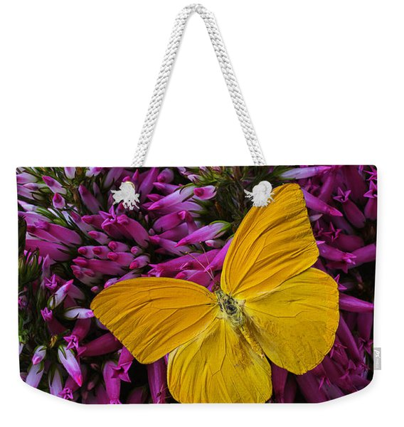 Yellow Butterfly On Italian Ventricosa Weekender Tote Bag