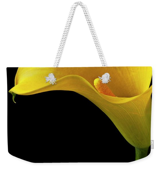 Yellow Calla Lily In Black And White Vase Weekender Tote Bag