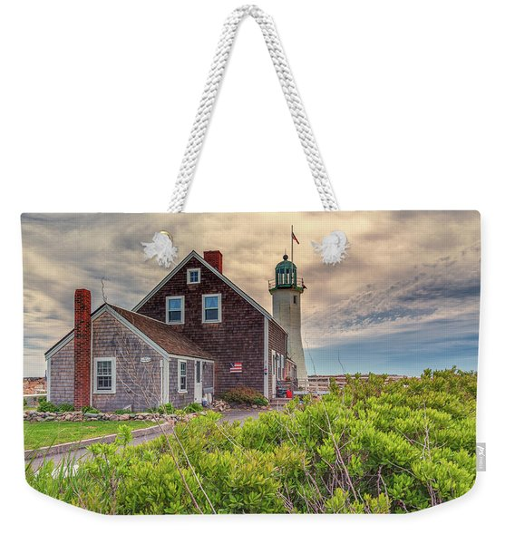 Yellow Clouds Over Scituate Lighthouse Weekender Tote Bag