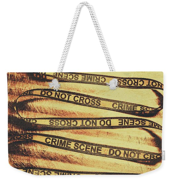 Yellow Crime Scene Ribbon On Metal Background Weekender Tote Bag