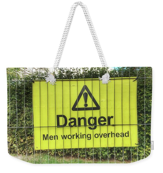 Yellow Danger Sign Weekender Tote Bag