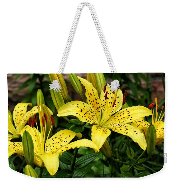Weekender Tote Bag featuring the photograph Yellow Lilies by William Selander