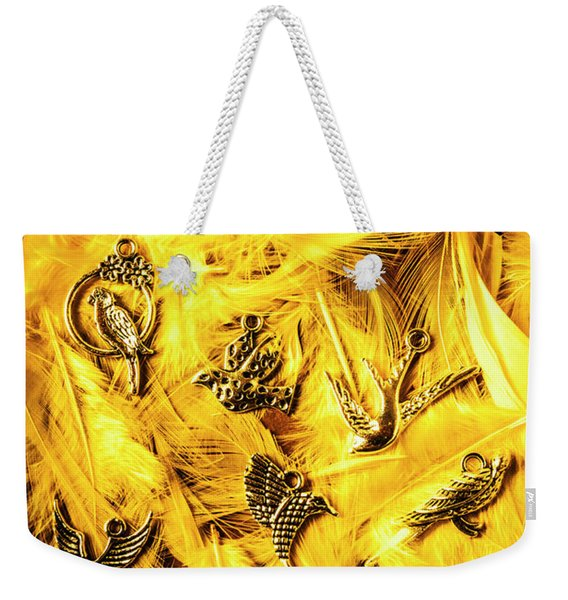 Yellow Feather Flock Weekender Tote Bag