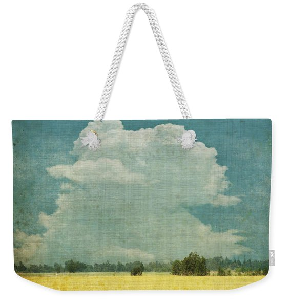 Yellow Field On Old Grunge Paper Weekender Tote Bag