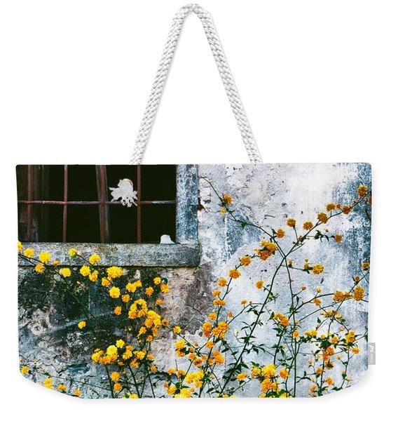 Yellow Flowers And Window Weekender Tote Bag