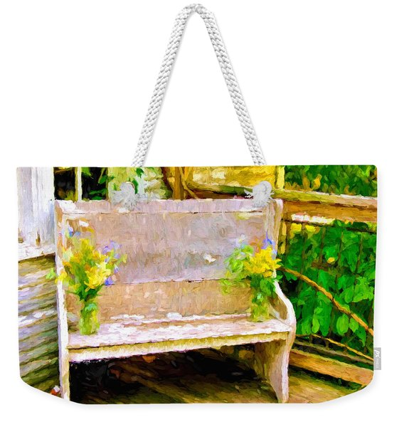 Yellow Flowers On Porch Bench Weekender Tote Bag