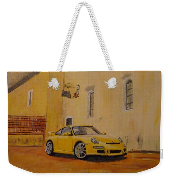 Weekender Tote Bag featuring the painting Yellow Gt3 Porsche by Richard Le Page
