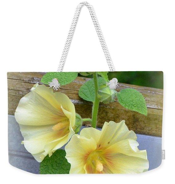 Yellow Hollyhocks Weekender Tote Bag