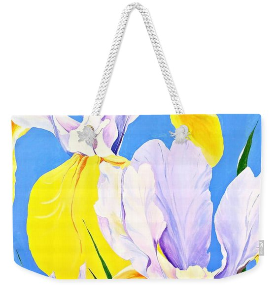 Weekender Tote Bag featuring the painting Yellow Irises-posthumously Presented Paintings Of Sachi Spohn  by Cliff Spohn