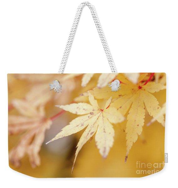 Yellow Leaf With Red Veins Weekender Tote Bag
