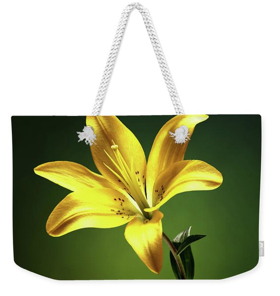 Yellow Lilly With Stem Weekender Tote Bag
