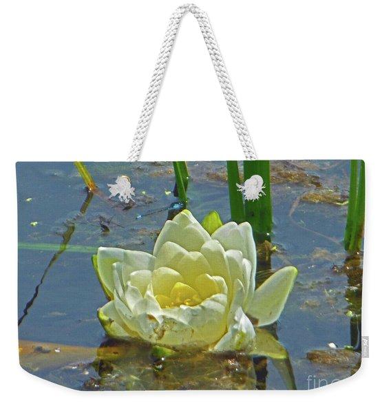 Yellow Nymphaea Alba Damselfy Weekender Tote Bag