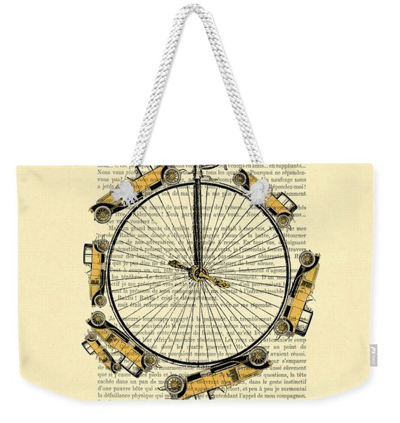 Yellow Oldtimers On A Bicycle Wheel Antique Illustration On Book Page Weekender Tote Bag