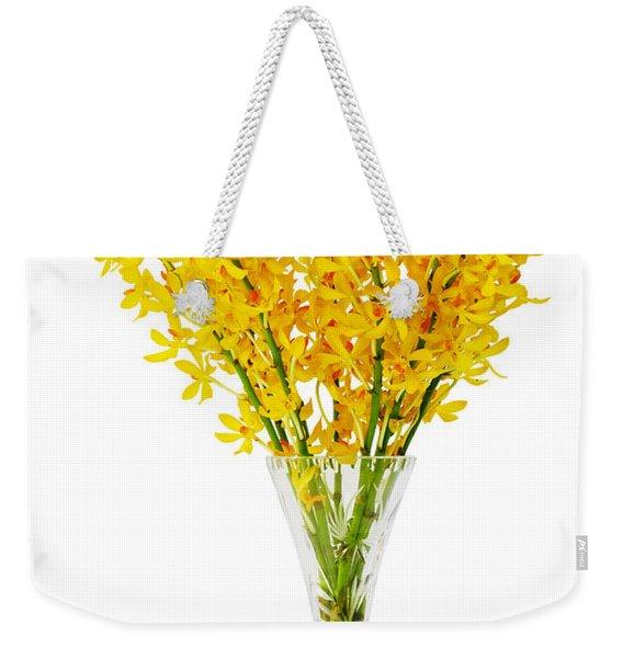 Yellow Orchid In Crystal Vase Weekender Tote Bag