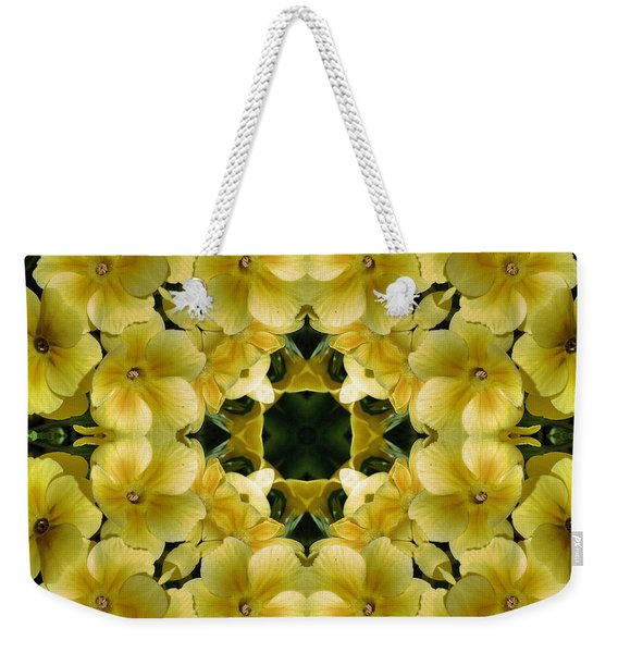 Yellow Primrose Kaleidoscope Weekender Tote Bag
