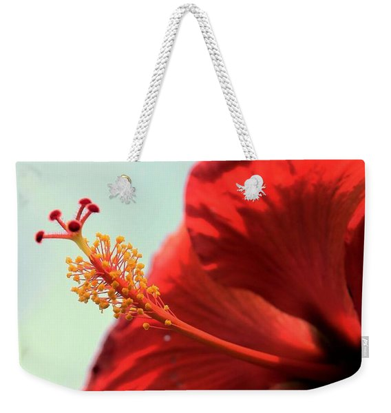 Yellow Red And Coral Hibiscus Profile Weekender Tote Bag
