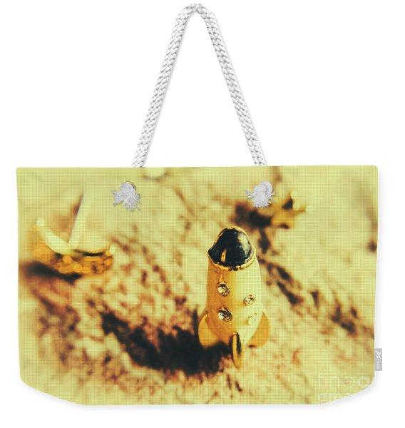 Yellow Rocket On Planetoid Exploration Weekender Tote Bag