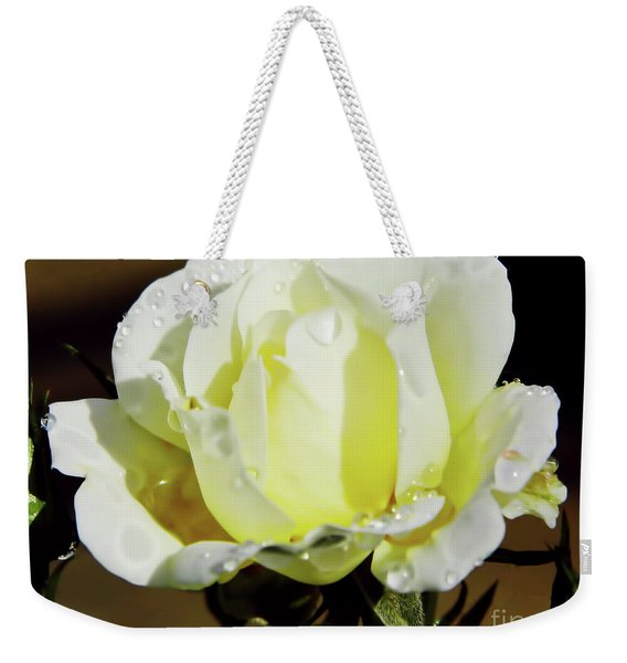 Yellow Rose Dew Drops Weekender Tote Bag