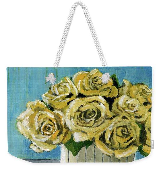 Yellow Roses In Vase Weekender Tote Bag