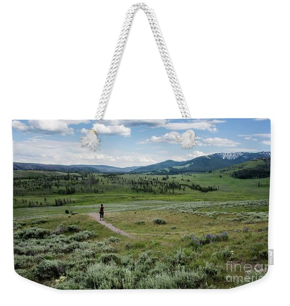 Weekender Tote Bag featuring the photograph Yellow Stone Mountains by Mae Wertz