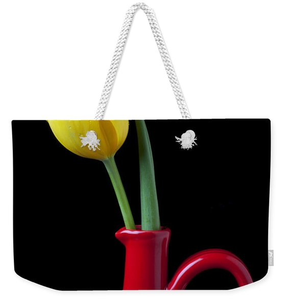Yellow Tulip In Red Pitcher Weekender Tote Bag