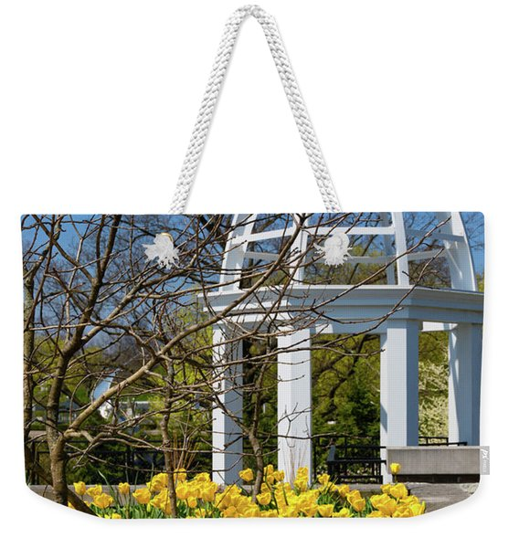 Yellow Tulips And Gazebo Weekender Tote Bag