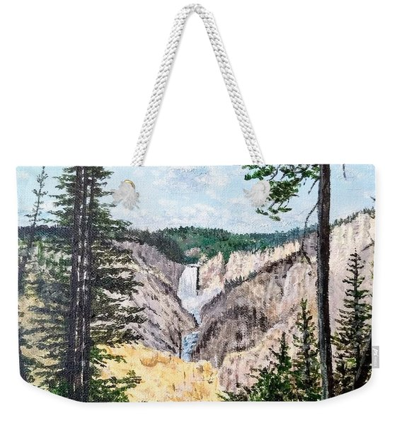 Weekender Tote Bag featuring the painting Yellowstone Falls by Kevin Daly