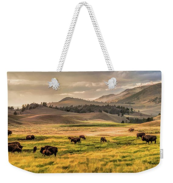 Yellowstone National Park Lamar Valley Bison Grazing Weekender Tote Bag