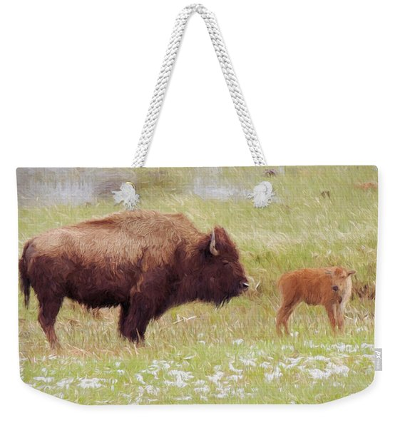 Yellowstone Poster With Bison Weekender Tote Bag