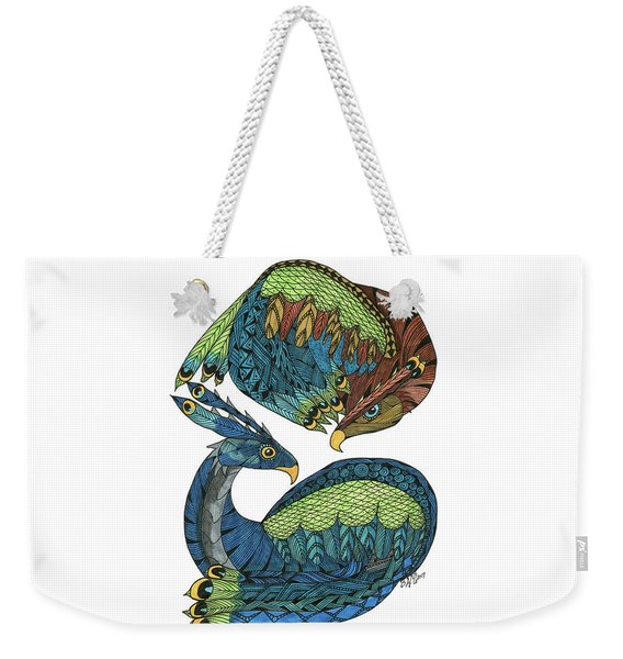 Weekender Tote Bag featuring the drawing Yin Yang Dragons by Barbara McConoughey