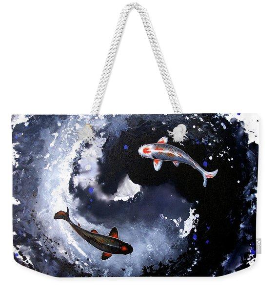 Weekender Tote Bag featuring the painting Yin - Yang by Sandi Baker