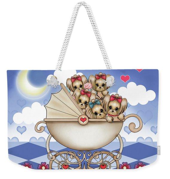 Yorkie Babies Strolling  Weekender Tote Bag