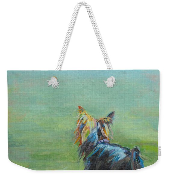 Yorkie In The Grass Weekender Tote Bag