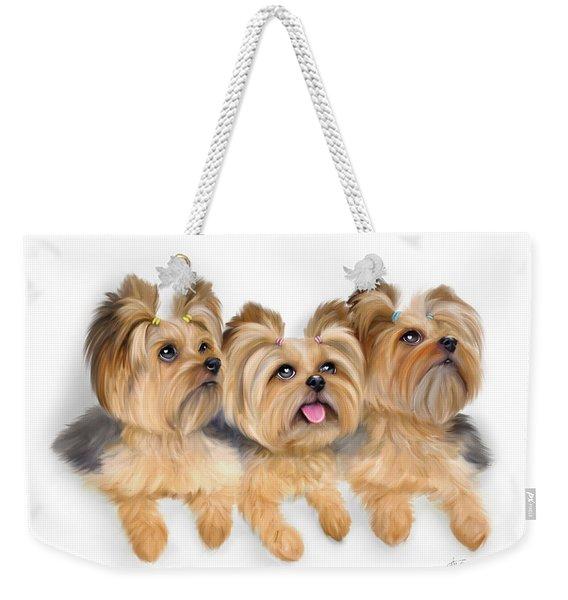 Yorkie Trio Weekender Tote Bag