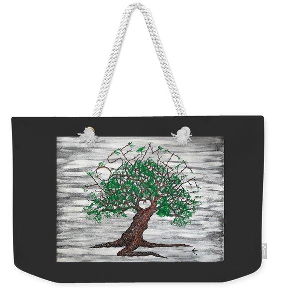Weekender Tote Bag featuring the drawing Yosemite Love Tree by Aaron Bombalicki