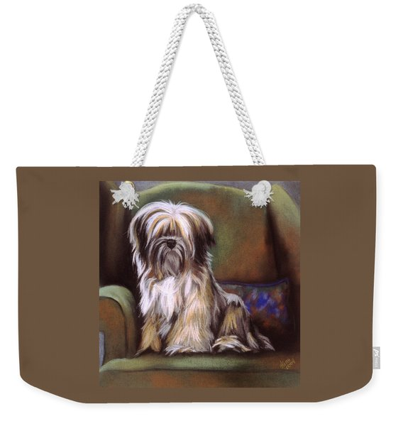 Weekender Tote Bag featuring the pastel You Are In My Spot Again by Barbara Keith