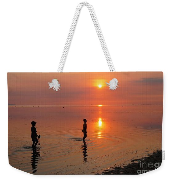 Young Fishermen At Sunset Weekender Tote Bag