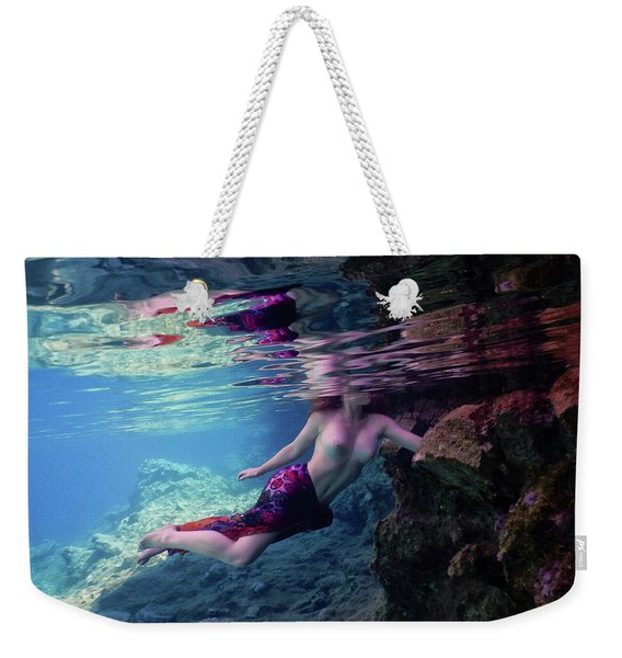 Young Girl Pose Underwater Weekender Tote Bag