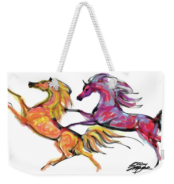 Young Horses Playing Weekender Tote Bag
