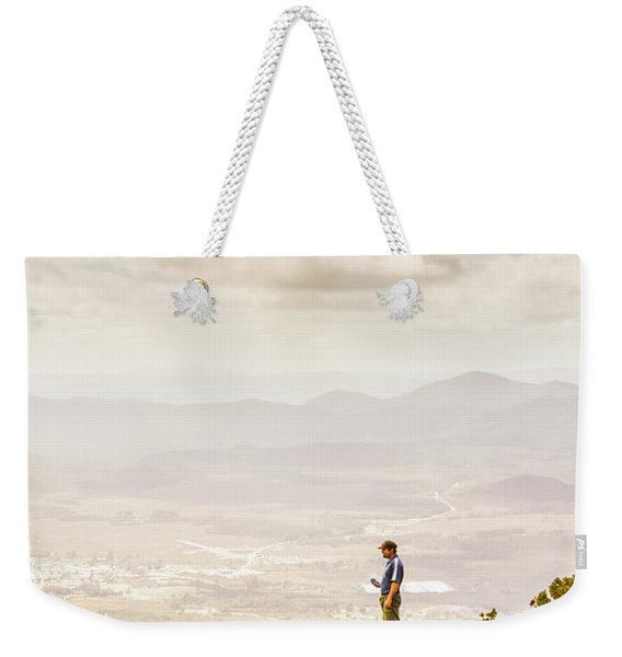 Young Traveler Looking At Mountain Landscape Weekender Tote Bag